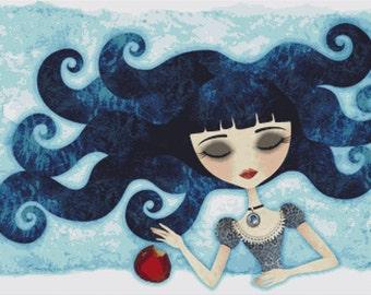 Cross stitch Snow White,  fairytale cross stitch, 'Poisoned', Sandra Vargas Cross Stitch, Counted Cross Stitch KIT