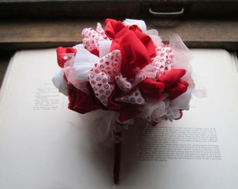 Bridal Bouquets * OOAK Bouquets * Alternative Gifts *Vintage Fabric Flower Hearts * Fabric Pommery * Fabric Posy * Red and White Flowers