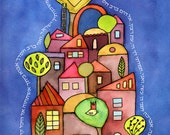 Mah Tovu - spiritual watercolor print and verse for weddings, housewarmings and holidays