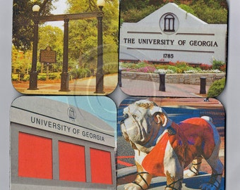 Set Of 4, UGA Fabric Coasters. UGA Arch, Sanford Stadium, Bulldog, University Of Georgia 1785. DAWGS