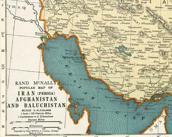 1937 Vintage Map of Iran (Persia), Afghanistan, and Baluchistan - Iran Antique Map - Persia Antique Map