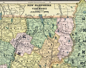 1888 Antique Map of New Hampshire and Vermont - Vermont New Hampshire Antique Map