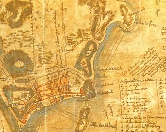 1965 Commemorative Vintage Map of Rio de Janeiro, Brazil, in 1750