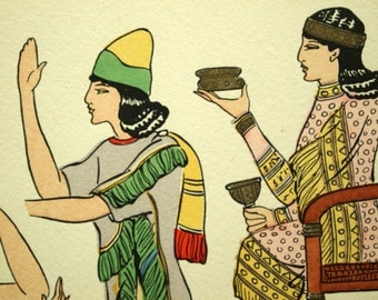 1925 French Art Deco Hand Coloured Pochoir Print on Assyrian Women's Fashions. Plate 2