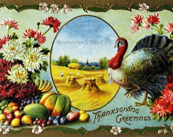 Early 1900s Heavily Embossed Thanksgiving Postcard with gold trimmings / Flowers / Turkey