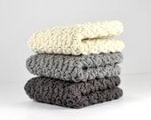Cotton Dish Cloths, Crochet Wash Cloths, Ecru, Charcoal Gray