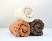 Neutral Shades Dish Cloths, Crochet Cotton Wash Cloths, Kitchen Dishcloths
