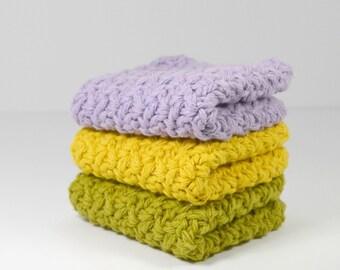 Crochet Cotton Washcloths, Spring Dish Cloths, Summer Scrubbies