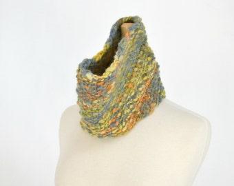Knit Cowl Scarf Designer Yarn Hand Dyed Unisex Neckwarmer