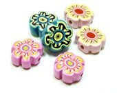 ON SALE NOW Flower Beads - 3 pairs - Handmade from Polymer Clay