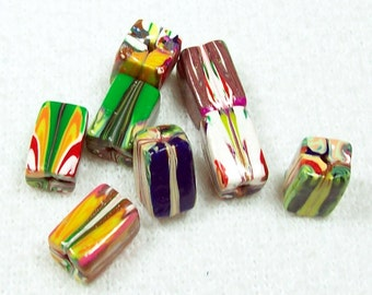 Summer Clearance Sale - Bright Multi Colored Polymer Clay Natasha Beads