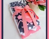 Pink and Grey Etsy Market Baby Girl Burp Cloth Set 3 pack Full Size plmdezigns Premium Diaper Burp Cloths