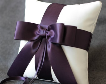 High Society Collection - Audrey Ring Bearer Pillow - Eggplant On White