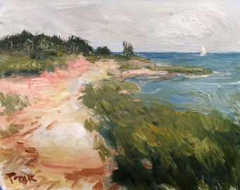 Original impressionist Cape Cod Painting with sailboat, sandy cove and tidal inlet, Russ Potak