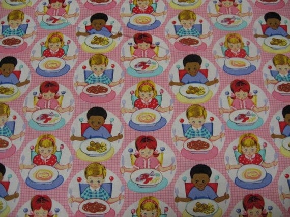 Children fabric cotton by the yard pink highchair fork for Childrens cotton fabric by the yard