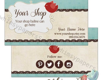 Printed Business Cards with optional double sided print - FREE SHIPPING - Red Bird