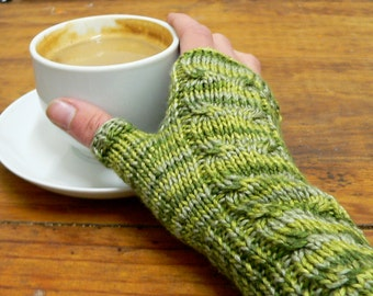 Variagated Hand knit Bamboo cable fingerless gloves