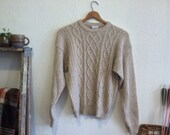 Oatmeal Dior Cable Knit Fisherman Sweater S M 80s