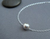 """round bead necklace. simple sterling silver necklace. classic minimalist jewelry. dainty everyday necklace gift for her. 16""""  ball 8 mm"""