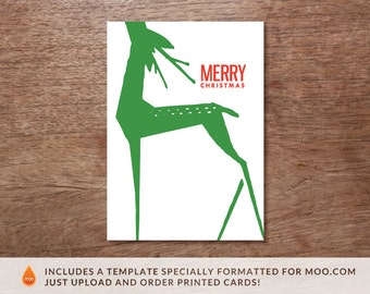 Printable Christmas Card - Instant Download - Christmas Printable - Green Deer Printable Card - Merry Christmas PDF Card - Print at Home