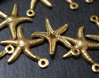 CLOSEOUT SALE - High Quality Solid Raw Brass Starfish Charm Pendants - 22mm - 10 pcs
