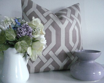 Both sides - Amethyst  Gatework -PKaufman - Decorative Designer  Pillow Cover- Basketweave---Mauve /Lilac Throw / Lumbar/ Toss Pillow