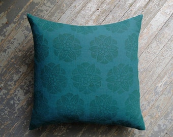 Dark Teal Water Lily Hand Block Printed botanical floral on teal blue green linen home decor decorative pillow cover