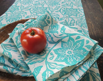 Turquoise hand block printed passion flower white linen table runner and napkin set farmhouse wedding spring home decor