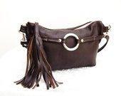 Brown Leather Fanny Pack & Tassel, Leather Waist Pouch, Small Leather Bag, 3 way leather purse,  leather fanny bag, small cross body bag