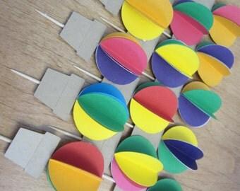 Dozen CUPCAKE TOPPERS - 3D Hot Air Balloon - Up Up and Away - Rainbow - Circus