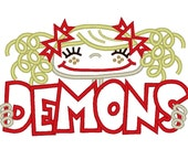 Demons Pigtail Girl Applique Design 5x7 and 6x10 INSTANT DOWNLOAD