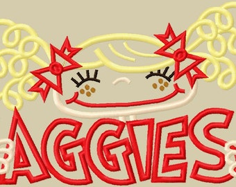 Aggie Pigtail Girl Applique Design 5x7 and 6x10