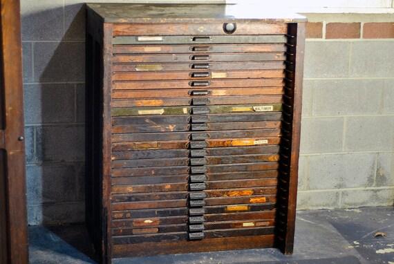 Antique Letterpress Cabinet Wood Letterpress Cabinet