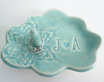 Bridal shower gift, cloud  ring holder gift, Bride to be gift, His and Hers monogram ring dish, Ceramic dish