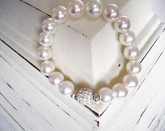 Pearls and Pave Stretch Bracelet