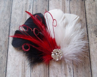 Bridal Hair Clip Bridal Feather Fascinator, Feather Hair Piece, Wedding Hair Accessory, RED IVORY hair clip