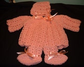 Crocheted Peach Baby Sweater Set
