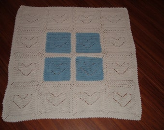 Crocheted Blue and White Heart Baby Blanket