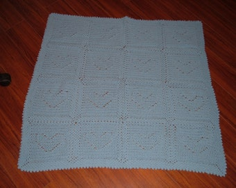 Crocheted Blue Heart Baby Blanket