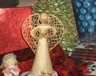Angel Made out of Wicker & Straw with Lace Ruffle