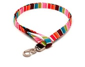 Multi Color Stripes Fabric Lanyard ID badge holder - Name Tag Holder Great Gift for Office Workers, Nurses, Teachers, Students Under 10 gift