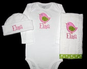 Custom Personalized Applique BIRD and NAME Bodysuit, Ribbon Burp Cloth, and Hat Set - Pink, Hot Pink, and Lime Green