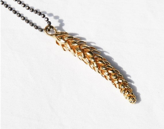 California Necklace- large solid 10 k yellow gold- Norfolk Pine Branch