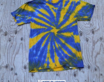 Purple and Golden Spiral Tie Dye T-Shirt (American Apparel Organic Cotton Size M) (One of a Kind)