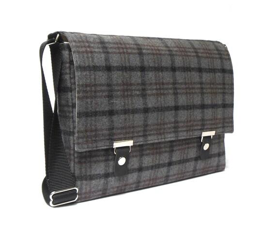 11 13 macbook air messenger bag gray plaid