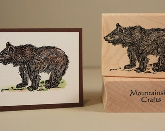 SHAGGY BEAR -Shaggy black bear sketch- wood mounted rubber stamp(MCRS 20-13)