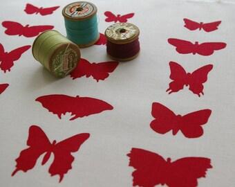 butterflies - handprinted fabric panel, raspberry on cotton or linen