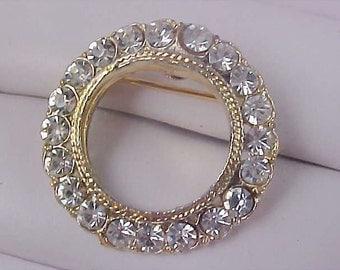 DIAMANTE Premier Designs Gold Plate Circular Brooch