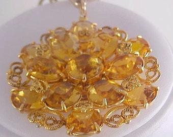 JULIANA ~ CITRINE Swarovski Crystals & Filigree Workmanship Medallion and  Chain Necklace