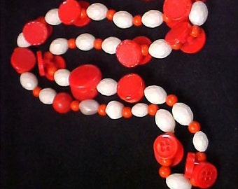1950's Red & White Celluloid Varied Shapes NECKLACE